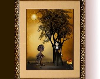 Zodiac Goth Girl  Art Print  ---  LEO