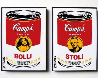 """AbFab Edina Patsy """"Bolli"""" and """"Stoli"""" Pop Art Soup, framed art by Zteven"""