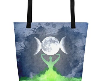 Wiccan Moon Goddess and Mother Earth Beach Bag