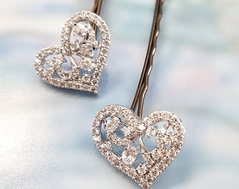 Heart Hair Pin, Crystal Heart Hair Accessory, Set of TWO Bobby Pins