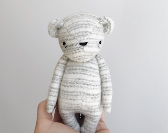 the dear ones | bear in grey striped wool | ready to ship