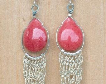 Earrings red Drop of water