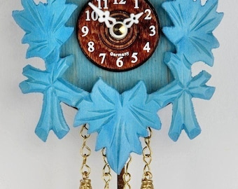 Black Forest Miniature Cuckoo Clock with blue Pendulum-Germany Black Forest-
