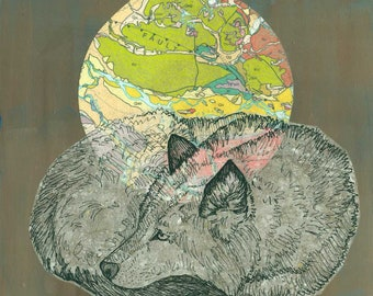 "Sleeping Wolf Collage 8 x 8"""