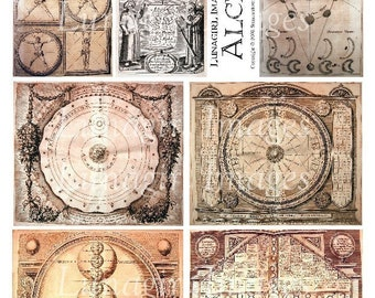 ALCHEMY in SEPIA digital collage sheet, Medieval Art Steampunk illustrations text antique book pages backgrounds printable ephemera DOWNLOAD