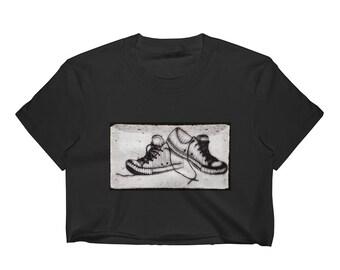 Sneakers in Charcoal Crop Top -Black