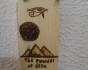 The Pyramids of Giza wood burned wall decoration