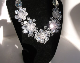 Wedding or Prom Clear Crystal Necklace and Earrings