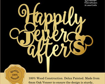 Disney  ''Happily Ever After'' Delux Personalised Monogram Cake Topper. Couple, Engagement, Anniversary: Various Colours