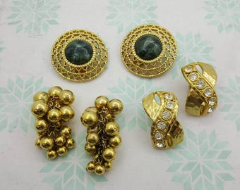 Large Clip Retro Earrings Lot of 3 pair Eighties Vibe