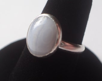 Blue lace agate and sterling silver ring.