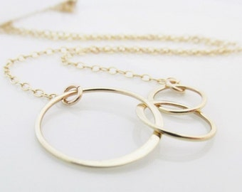 Three Ring Necklace, Gold Generation Necklace, 3 Ring Eternity Necklace, Mothers Day Gift
