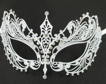 Beautiful Lady Masquerade Mardi Gras Metal Filigree Mask in White with clear, pink, blue, or purple Crystals