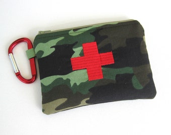 Camouflage First aid Kit, Fully Stocked Medicine Bag, Zippered Medical Pouch, Red Cross, car kit, Medical Supplies, emergency bag