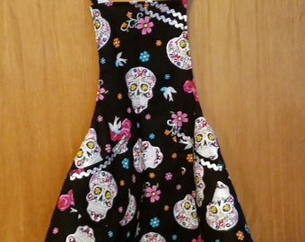 Girls Apron Sugar Skull
