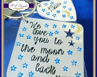 We / I Love You To The Moon And Back Keyring - Personalised Moon & Back Keyring - Personalised Daddy Keyring - Personalised Grandma Keyring