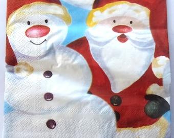 20 Christmas paper napkins - Santa and SNOWMAN - REF.   3452