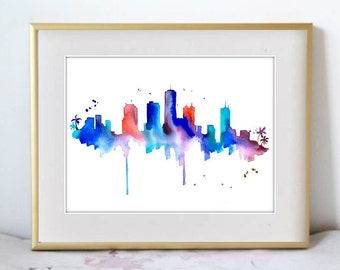 Watercolor Painting Honolulu Hawaii Skyline Print Wall Art Abstract Painting Minimalist Large Wall Art Housewarming Gift Gift for her