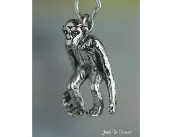 Sterling Silver Chimpanzee Charm Chimp Primate Monkey 3D Solid .925