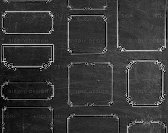 Chalkboard Frames Clipart Bundle