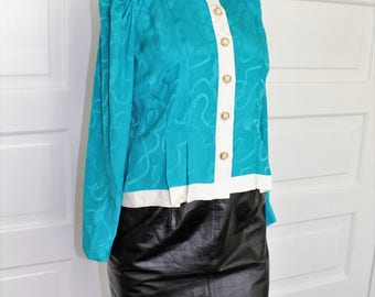 Leslie Fay 80s teal blouse