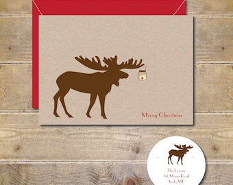 Moose, Moose Christmas Cards, Christmas Cards, Holiday Cards, Mason Jars, Mason Jar Christmas Cards, Handmade,  Snowflakes, Candles