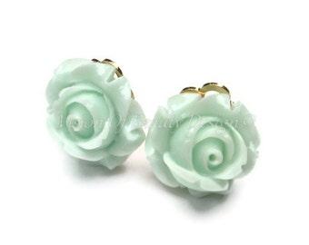 Mint Green Rose, Spring Flower Clip On Earrings