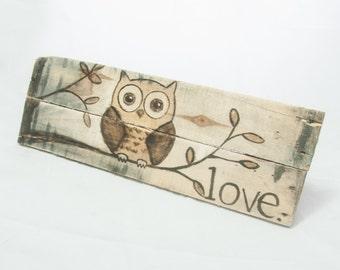 Owl decor Nursery art Nursery decor Owl painting Owl art Baby decor Baby girl Baby boy Child room decor Pallet art Baby shower gift