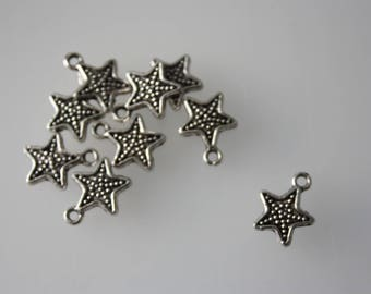 Set of 8 1.2 x 1.6 cm silver tone star charms