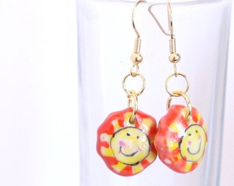 Orange and Yellow Sun Smile Face Lampwork Glass Bead Earring - Gift Ideas - Happy Sun