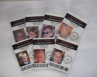 Laminated Science badges. set of 5