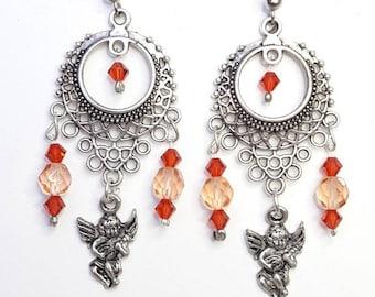 orange ethnic earrings