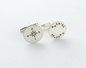 Groomsmen Silver Cuff Links, Personalized Coordinates Cufflinks, Compass Coordinate CuffLinks, Custom Cufflinks Father of the Bride