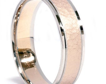 Mens Two Tone 14K Gold Hammered Wedding Ring Band