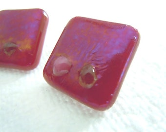 Fused Glass Buttons, Art Button, Red Leather, amber, pink, cherry red, cherry, red, sewing button, knitting supplies, square, six
