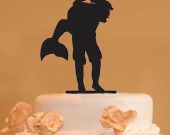 Man holding a Mermaid wedding cake topper - Mermaid Wedding Cake Topper - man and mermaid silhouette cake topper