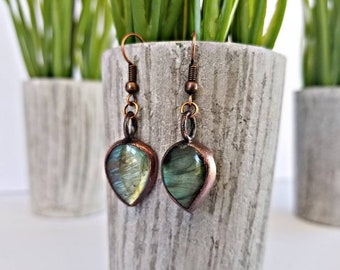 Antiqued Copper Electroformed Labradorite Earrings