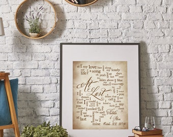 1st Paper Anniversary - Wedding Song: At Last by Etta James - Wedding Song Lyric Art - Personalized names, date pick colors verse print