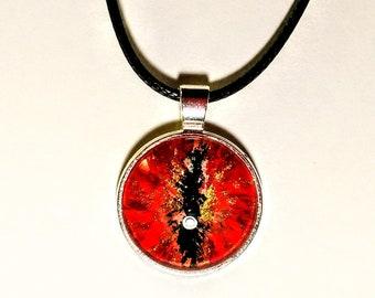 Red orange dragon eye pendant