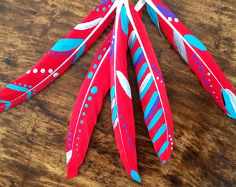 Hand painted feathers - Boho style painted feathers - DIY feather supplies - Feather craft - Hippy feathers - Hat making supplies