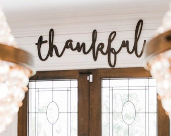 Extra Large Thankful Word Wood Cut Wall Art Sign Decor
