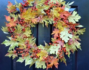 Fall Leaves Wreath- Fall Wreath- Fall Decor- Autumn Wreath- Fall Decor- Wreath with Bow- Front Door Wreath- Fall Leaves- Wall Decoration