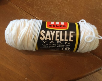 Meijer Sayelle White Vintage Yarn // Acrylic Blend DISCONTINUED Worsted Weight Yarn / 4oz