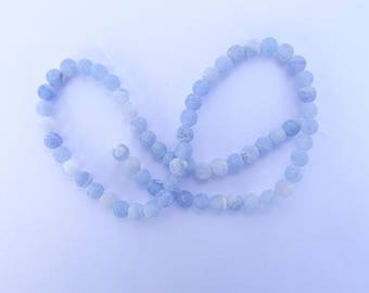 agate frosted Blue 6 mm ZUI 106 64 beads