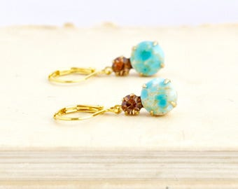 Mothers Day Gift - Turquoise Earrings - Turquoise Crystal Earrings - Bridal jewelry - Bridesmaid Gift - Vintage Style - Drop Prom Earrings