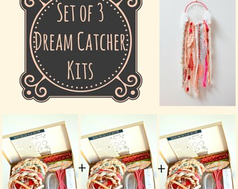 Set of 3 burgundy diy dream catcher kits do it yourself set of 3 pink dream catcher kits do it yourself craft kit gift for girls make your own dreamcatcher by the house phoenix solutioingenieria Gallery