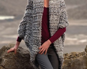 Cocoon Cardigan, Shrug, Easy & Quick, Knitting Pattern. PDF Instant Download.