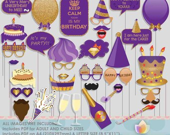 Glitter Gold Purple Birthday Party Photo Booth Props