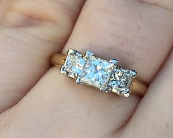 14k yellow three princess cut diamond anniversary/wedding ring