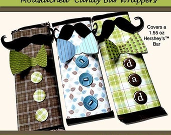 106-Moustache Candy Wrappers-Digital Download